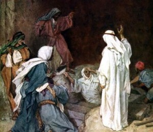 Jesus raises Lazarus from the dead before Martha and Mary. 'He cried with a loud voice, Lazarus, come forth. And he that was dead came forth, bound hand and foot with graveclothes: and his face was bound about with a napkin' John xi 43-44. Illustration by William Hole 1846-1917. (Photo by Culture Club/Getty Images)